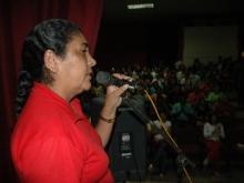 La Alcaldesa Gregoria Crespo en su Intervención dandole la bienvenida al Diputado y Candidato Andrés Eloy Méndez y el Candidato Fernando Soto Rojas
